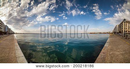 Thessaloniki, Fisheye Panorama, Sea View From Aristotelous Square