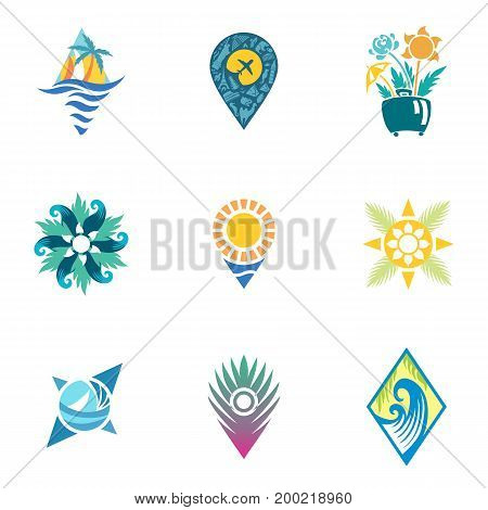 Logo design flat vector illustrations with sun, compass, geo tag in vintage style