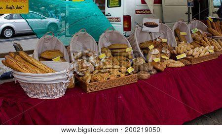 Amsterdam, Netherlands - July 30, 2011: Bread stall in Market Amsterdam