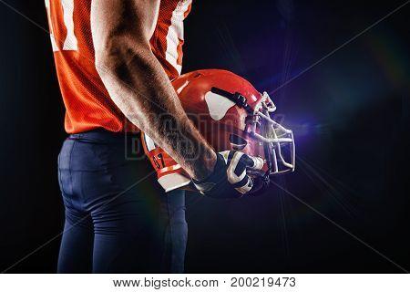 American football sportsman player in stadium closeup