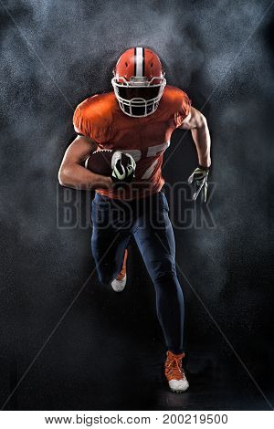 American football sportsman player running in action