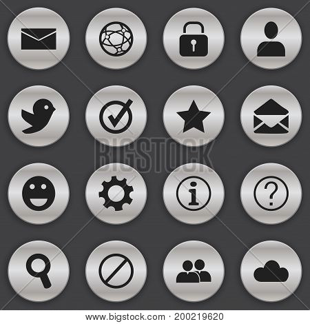 Set Of 16 Editable Internet Icons. Includes Symbols Such As Mail, Deny, Dove And More