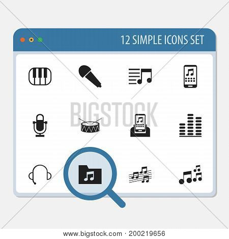 Set Of 12 Editable Song Icons. Includes Symbols Such As Dossier, Playlist, Tone And More