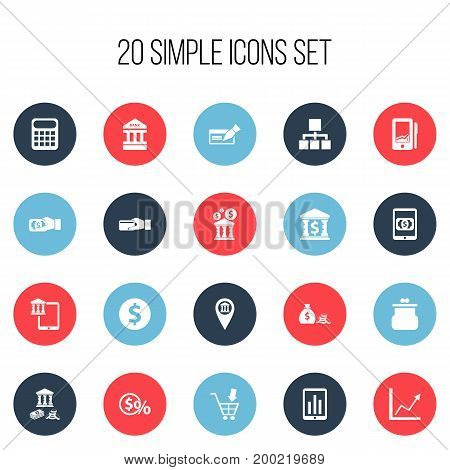 Set Of 20 Editable Finance Icons. Includes Symbols Such As Monitoring, Calculate, Greenback And More