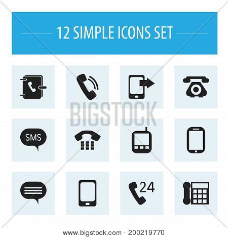 Set Of 12 Editable Device Icons. Includes Symbols Such As Calling Device, Share Display, Telecommunication And More