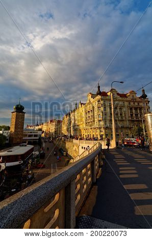 View from the bridge on Prague city.