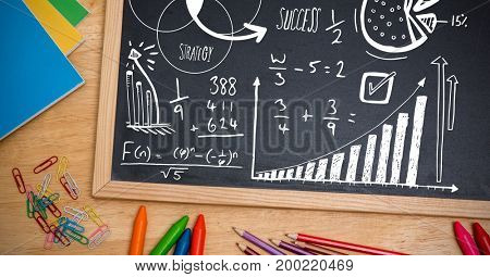 Digital composite of math strategy success text on blackboard