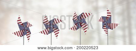 Digital composite of USA wind catchers in front of bright light