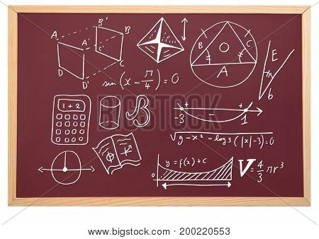 Digital composite of diagrams on blackboard