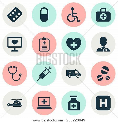 Antibiotic Icons Set. Collection Of Surgical Bag, Copter, Injection And Other Elements