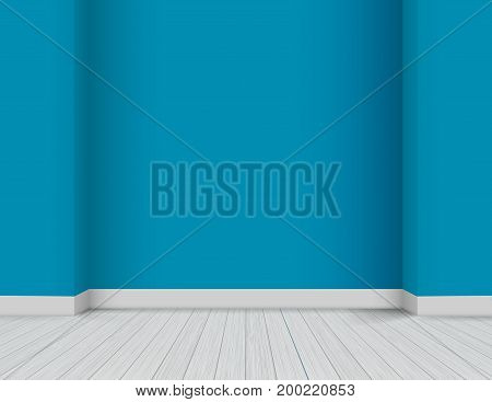 Vector Bright Modern Interior - white wooden floor and blue colored wall background with corners