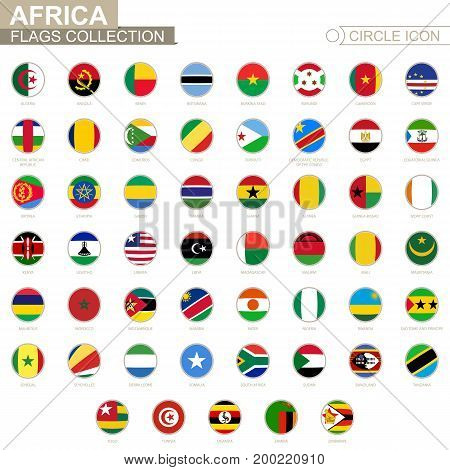 Alphabetically Sorted Circle Flags Of Africa. Set Of Round Flags.