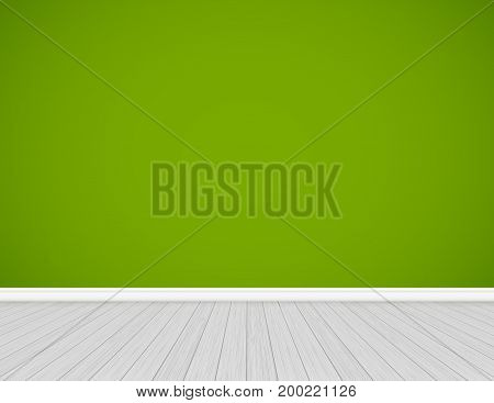 Clean interior template, empty green wall with wooden floor background