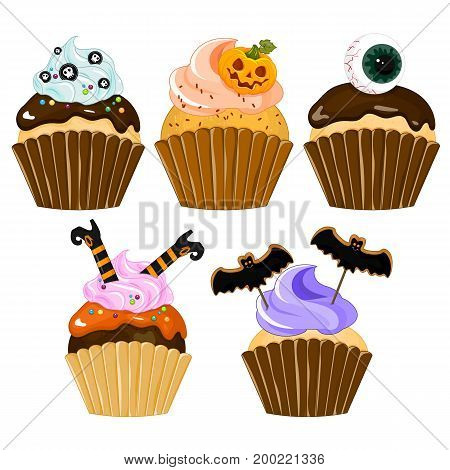Halloween cupcake. Set of cupcake on Halloween Stock vector