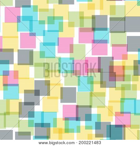 Abstract Squares Pattern. White Geometric Background. Bizarre Random Squares. Geometric Chaotic Deco