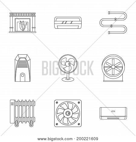 Heating cooling air icon set. Outline style set of 9 heating cooling air vector icons for web isolated on white background