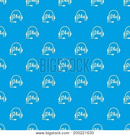 Support 24 hours pattern repeat seamless in blue color for any design. Vector geometric illustration