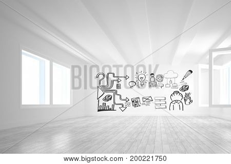 Digital composite of Conceptual graphic on 3D room wall