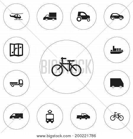 Set Of 12 Editable Transport Icons. Includes Symbols Such As Haulage, Food Transport, Van And More