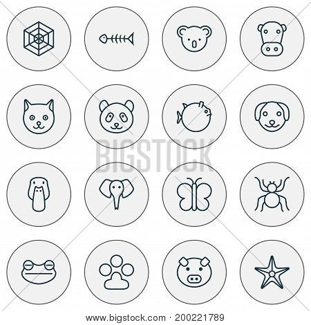 Zoology Icons Set. Collection Of Kine, Butterflyfish, Trunked Animal And Other Elements