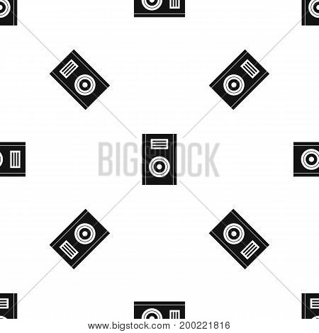 Music speaker pattern repeat seamless in black color for any design. Vector geometric illustration