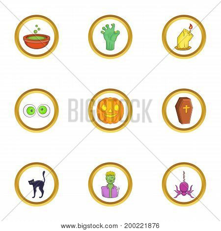 Halloween icon set. Cartoon style set of 9 halloween vector icons for web isolated on white background