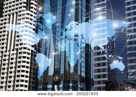 International business partnership. Mixed media . Mixed media