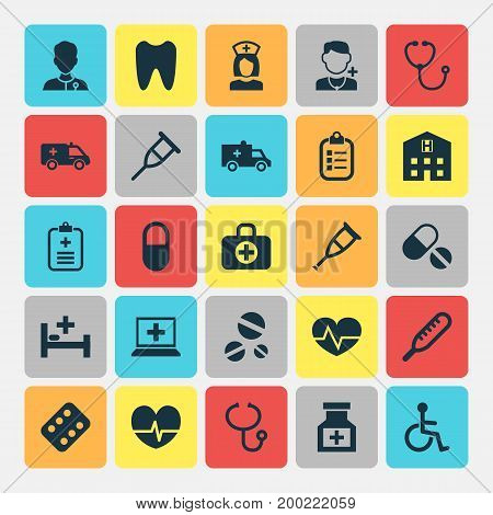Medicine Icons Set. Collection Of Beating, Cure, Retreat And Other Elements
