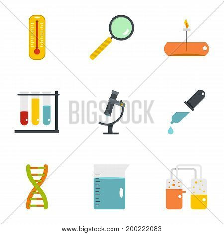 Chemical experience icon set. Flat style set of 9 chemical experience vector icons for web isolated on white background