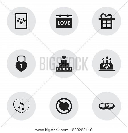 Set Of 9 Editable Passion Icons. Includes Symbols Such As Gift, Prohibit, Music And More