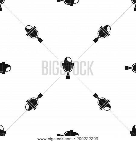 Retro microphone pattern repeat seamless in black color for any design. Vector geometric illustration