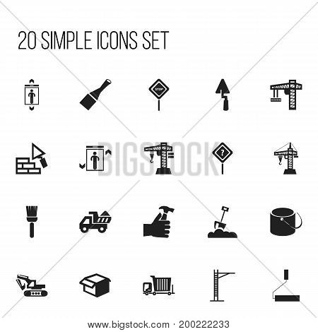 Set Of 20 Editable Structure Icons. Includes Symbols Such As Mallet, Mop, Shovel And More