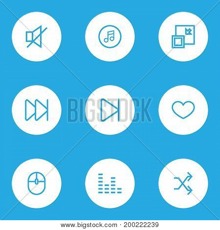 Media Outline Icons Set. Collection Of Mute, Forward, Heart And Other Elements