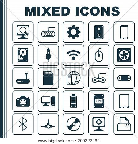 Hardware Icons Set. Collection Of PC, Laptop, Radio Set And Other Elements