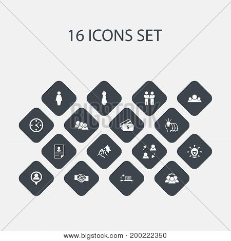 Set Of 16 Editable Business Icons. Includes Symbols Such As Cv, Idea, Publish And More