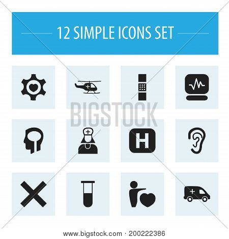Set Of 12 Editable Clinic Icons. Includes Symbols Such As Pulse, Wound Band, Analysis Container