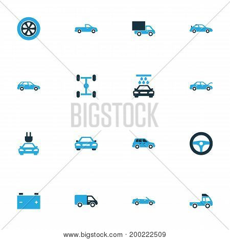 Car Colorful Icons Set. Collection Of Car, Battery, Auto Hood And Other Elements