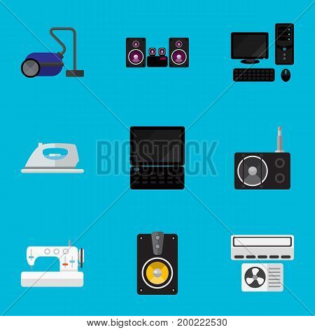 Set Of 9 Editable Tech Flat Icons. Includes Symbols Such As Tuner, Appliance, Sewing Machine And More