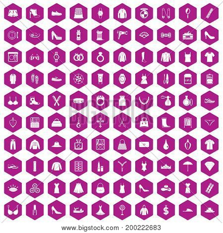 100 womens accessories icons set in violet hexagon isolated vector illustration