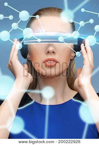 augmented reality, science, technology and people concept - beautiful woman in futuristic 3d glasses with molecule virtual projection over blue background