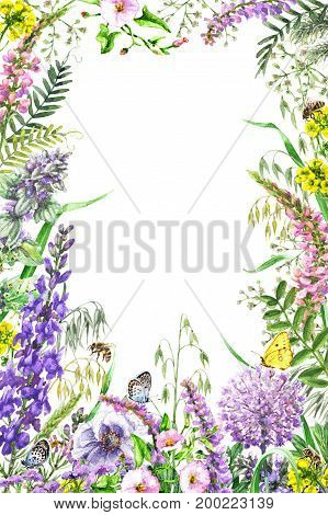 Hand drawn wild flowers and insects. Watercolor vivid rectangle vertical frame with yellow pink lilac wildflowers butterflies and bees. Space for text.