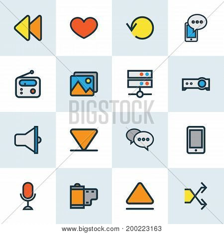 Media Colorful Outline Icons Set. Collection Of Photo, Randomize, Refresh Elements