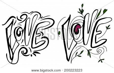 love. Hand lettering and custom typography for your design. Doodle sketch
