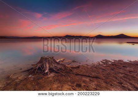 Dry reservoir end of summer in Alava