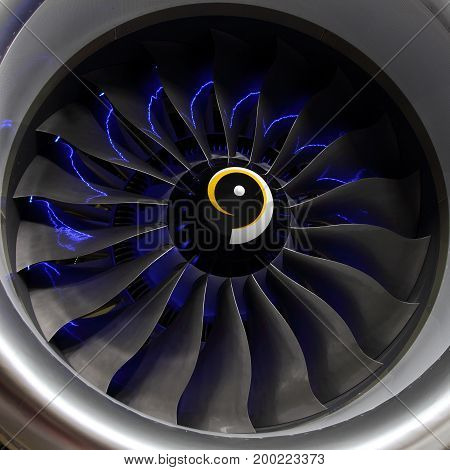 Fan blades of a modern aircraft turbofan engine.