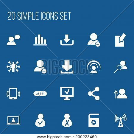 Set Of 20 Editable Network Icons. Includes Symbols Such As Smartphone, Download, Publish And More