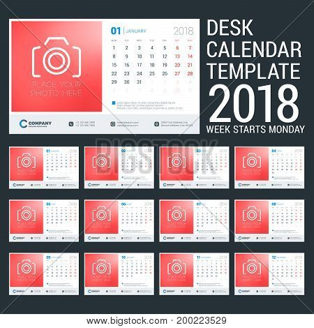 Desk calendar for 2018 year. Design template with place for photo. Week starts on Monday. Set of 12 pages. Vector Illustration