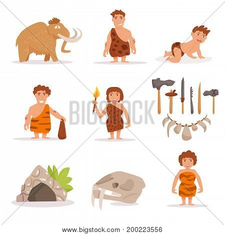 Set with mammoth, cave people, tools, stone age. Vector. Cartoon. Isolated art on white background Flat