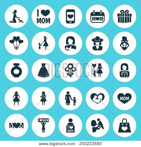 Mothers Day Icon Design Concept. Set Of 25 Such Elements As Madame, Holiday And Package
