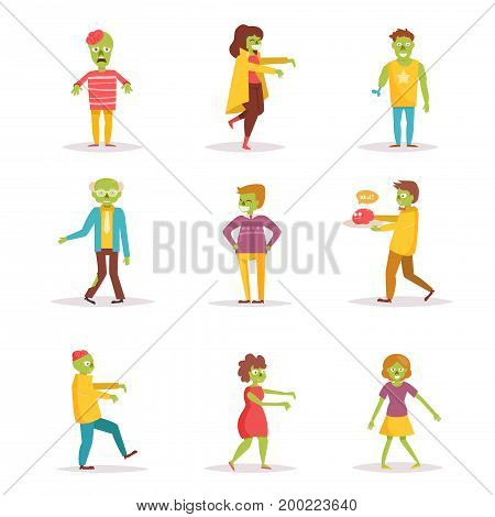 Zombies. Vector. Cartoon. Isolated art on white background Flat